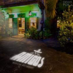 Projecteur logo lumineux trottoir sol mur façade